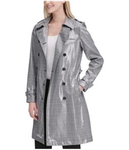 Calvin Klein Womens Glen Plaid Trench Coat