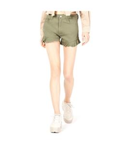 T.D.C Womens Ruffle Casual Denim Shorts