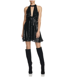 Free People Womens Film Noir Sequined A-line Tank Top Dress