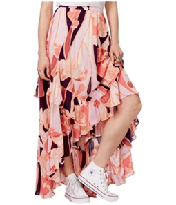 Free People Womens Printed Tiered High-Low Skirt