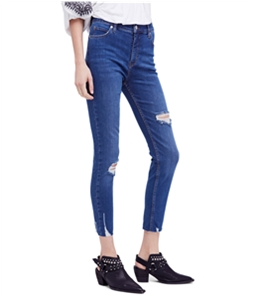 Free People Womens Distressed Regular Fit Jeans