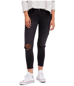 Free People Womens Fishnet Skinny Fit Jeans