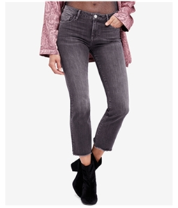 Free People Womens Raw-Hem Cropped Jeans