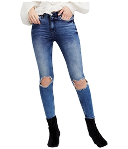 Free People Womens Ripped Skinny Fit Jeans