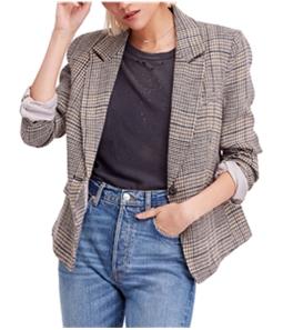 Free People Womens Plaid One Button Blazer Jacket