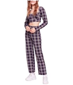 Free People Womens Plaid Pant Suit