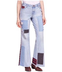 Free People Womens Mixed Patch Wide Leg Jeans