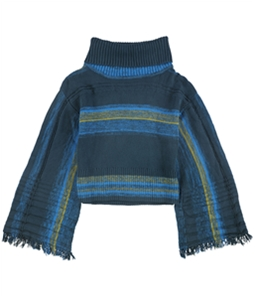 Free People Womens Fringed Sleeve Pullover Sweater