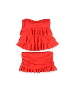 Island Escape Womens Tiered Ruffle Skirt 2 Piece Bandeau