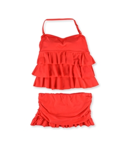 Island Escape Womens Tiered Ruffle Skirt 2 Piece Tankini