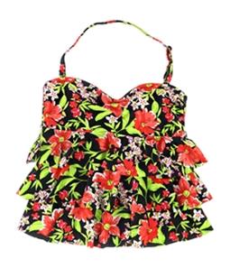 Island Escape Womens Tiered Floral Bandini Swim Top
