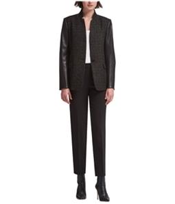 DKNY Womens Mixed Media One Button Blazer Jacket