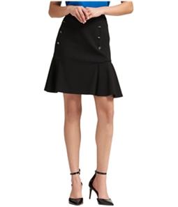 DKNY Womens Flare Button-Detail Mini Skirt