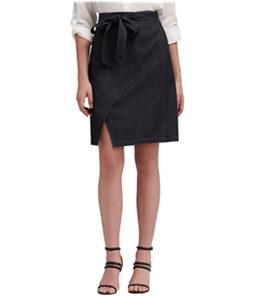 DKNY Womens Belted Denim Wrap Skirt