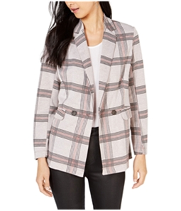 Project 28 Womens NYC Plaid Double Breasted Blazer Jacket