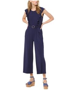 Michael Kors Womens Solid Ring Belt Jumpsuit