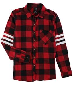 Project 28 Womens 3 stripe Varsity Plaid Button Up Shirt