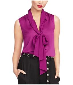 Rachel Roy Womens Tie Neck Pullover Blouse