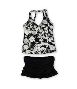 Island Escape Womens Floral U-Wire Skirt 2 Piece Tankini
