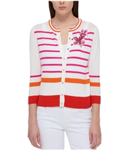 Tommy Hilfiger Womens Striped Embellished Cardigan Sweater
