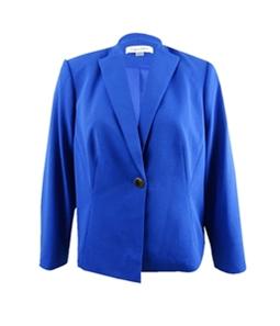 Calvin Klein Womens Crepe One Button Blazer Jacket