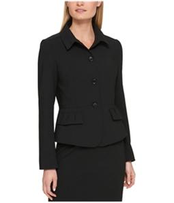 DKNY Womens Ruffled Four Button Blazer Jacket