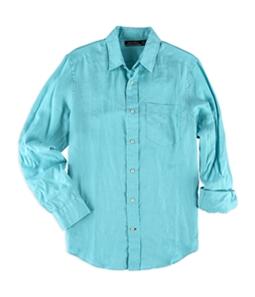 Nautica Mens Solid Linen Button Up Shirt