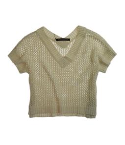 W118 Womens Glittery V-neck Mesh Knit Sweater