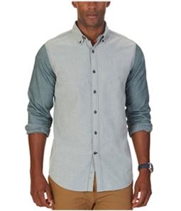Nautica Mens Colorblocked Slim Fit Button Up Shirt