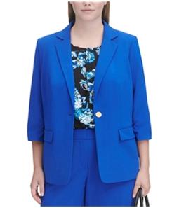 Calvin Klein Womens Solid One Button Blazer Jacket