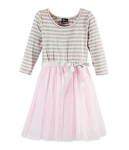 Pink & Violet Girls Striped Tutu A-line Dress