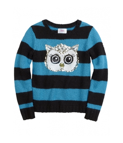 Justice Girls Striped Critter Knit Sweater