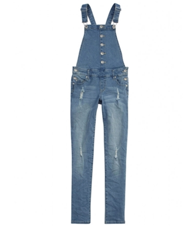 Justice Girls Button Front Overall Jeans