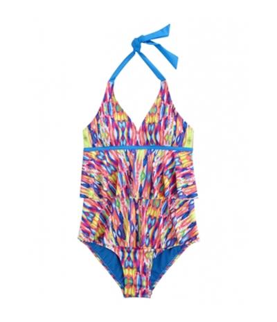 Justice Girls Tie Dye Ruffle One Piece Halter Top Swimsuit