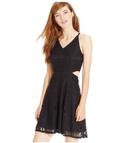 Material Girl Womens Side Cutout Lace A-Line Dress