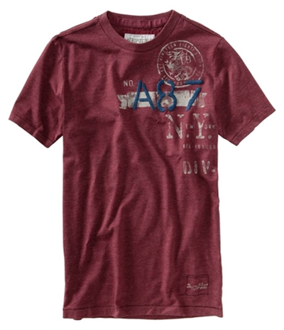 Aeropostale Mens Embroidered A-87 Graphic T-Shirt