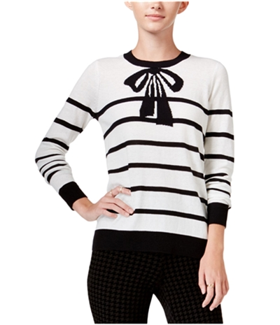 Maison Jules Womens Striped Bow Knit Sweater