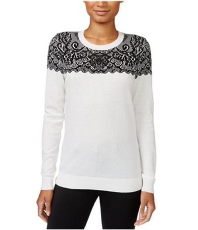Maison Jules Womens Intarsia Knit Sweater