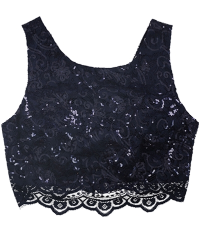 City Studio Womens Sequined Lace Crop Top Blouse