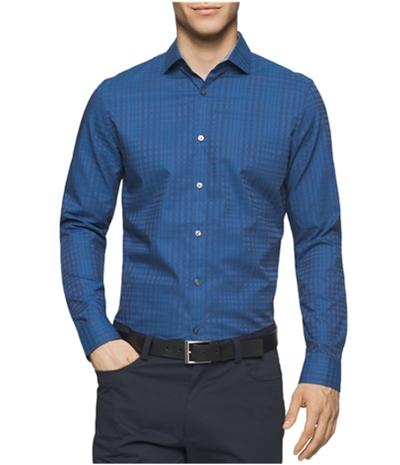 Calvin Klein Mens Shadow Plaid Button Up Shirt