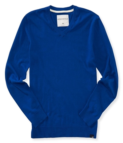 Aeropostale Mens Solid Ribbeed Pullover Sweater