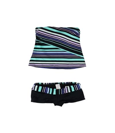 Jag Womens Striped Shorty Shorts 2 Piece Bandeau