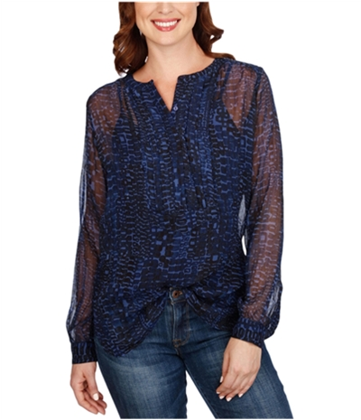 Lucky Brand Womens Printed Pullover Blouse