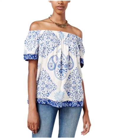 Lucky Brand Womens Off The Shoulder Pullover Blouse