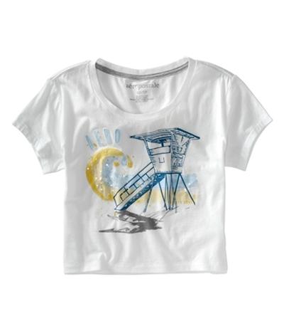 Aeropostale Womens Cropped Aero Wide Neck Graphic T-Shirt