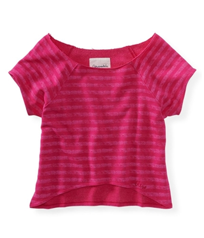 Aeropostale Womens Cropped Striped Crew Knit Sweater