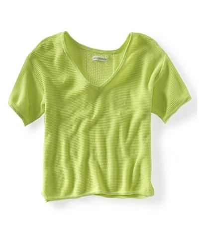 Aeropostale Womens Ss Cropped Eyelet Knit Sweater