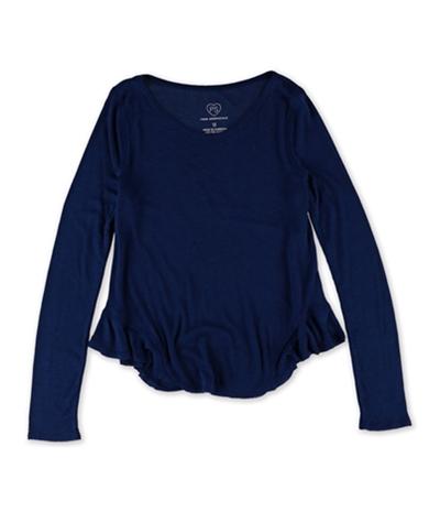 Aeropostale Girls Ribbed Flutter-Hem Basic T-Shirt