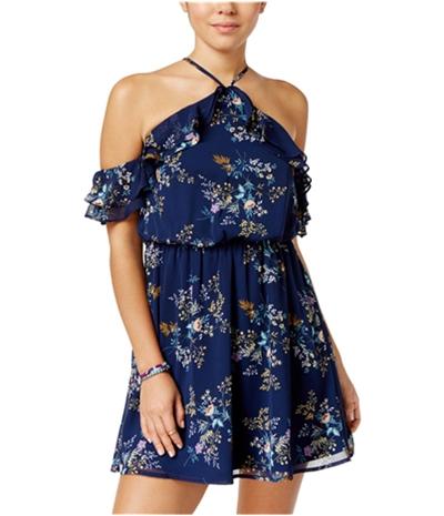 City Studio Womens Cold-Shoulder A-Line Dress