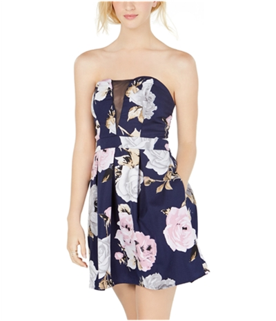 Speechless Womens Floral Strapless Dress